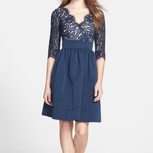 Eliza J Lace & Faille Dress Navy Blue, V-neck, 6